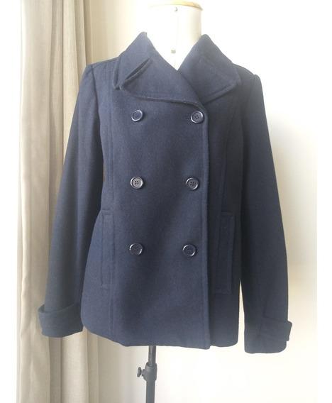 Casaco De Lã Batida Marca H & M Azul Marinho 42