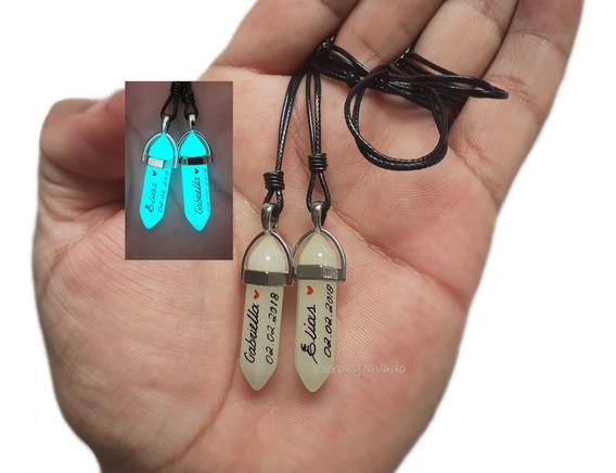 Kit 2 Colares Namorados,nome Na Pedra Neon,quartzo,data,amor