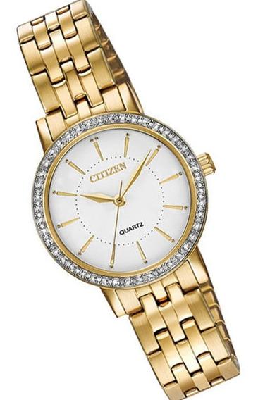 Reloj Dama Citizen El3042-84a Cuarzo Dorado Con Cristales