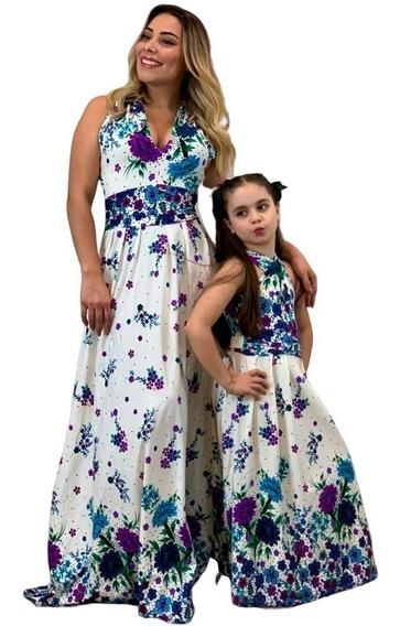 Tal Mãe Tal Filha Vestido Longo Feminino Promoção Kit