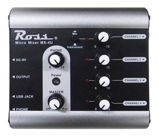 Consola Mixer Ross 4 Canales - Mx-4u
