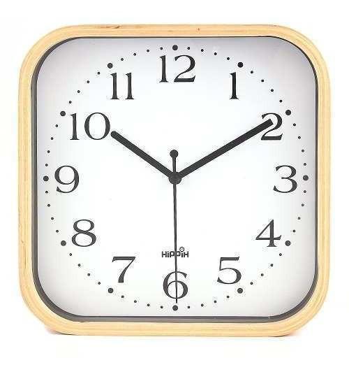 Hippih Silent Wall Clock Wood 9 Inch Non Ticking Digital Qui