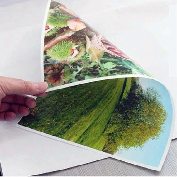 100 Papel Foto Glossy 120g Dupla Face Brilho Prova Agua A4