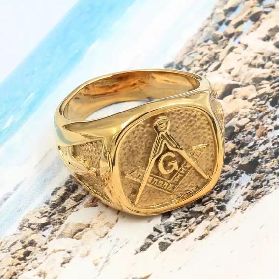 Anel Maçonaria Maçom Aço Inox 316l Real Dourado Qualidade