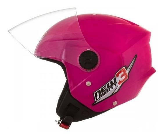Capacete Feminino Aberto Moto New Liberty 3 Three Rosa Tork