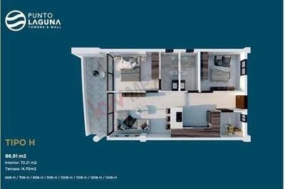 Condo Suite Tipo H #1308 Con Vista A La Ciudad En Punto Laguna