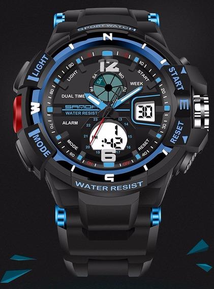 Relógio Masculino Esportivo Azul Frete Grátis Resist. À Água