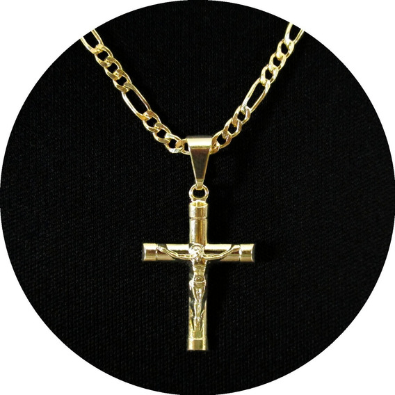 Corrente Masculina 3x1 60cm Crucifixo Folheada A Ouro