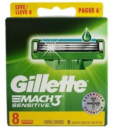 Laminas De Barbear Gillette Mach3 Sensitive Com 8