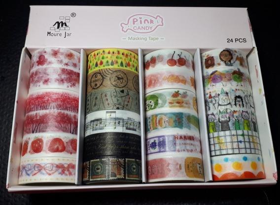 Cx C/24 Washi Tape Fita Adesiva Decorativa Planner Scrapbook