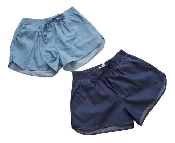 Short Jeans Feminina Cintura Com Elástico Verão Importado
