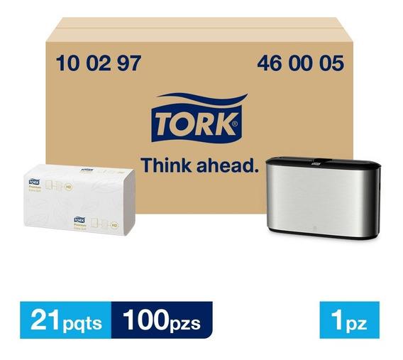 Tork Dispensador Inox + T. Interdoblada Prem Hd 21paq/100pzs