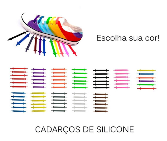 Kit 12 Cadarço Silicone Colorido Tênis Unisex Fashion Sapato