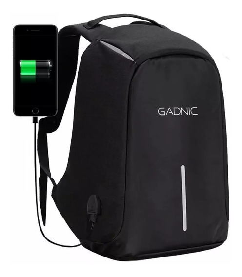 Mochila Antirrobo Impermeable Gadnic Original Usb Notebook