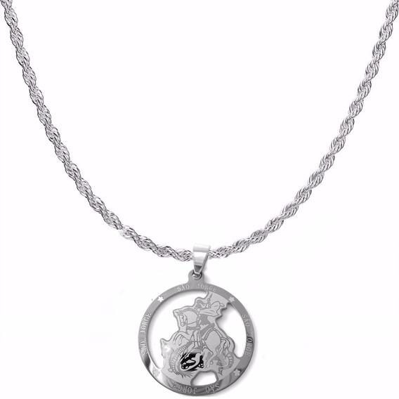 Corrente Cordão Torcido 60cm 4mm Medalha São Jorge Aço Inox
