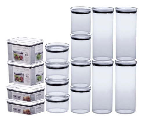 Kit Completo 16 Potes P/ Alimentos 480|770|1000|2200ml