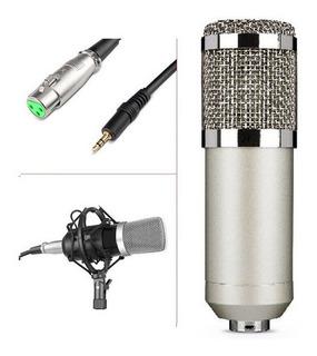 Microfono Condenser Hügel Plateado Con Cable Y Soporte Araña