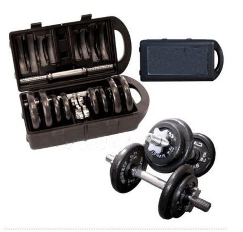 Imagem 1 de 9 de Kit Completo Anilhas + Halteres Na Maleta 20kg - Wct Fitness