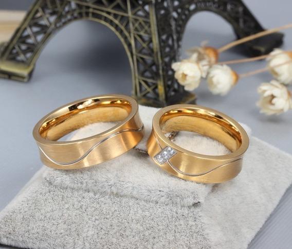 Alianças Casamento Banhado A Ouro 18k