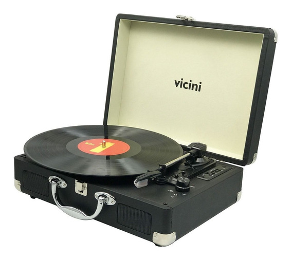 Vitrola Tipo Maleta Toca-discos Bluetooth Vintage Rádio Fm
