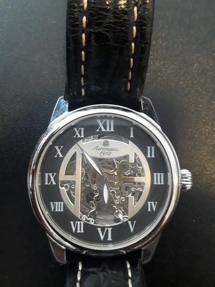 Relógio Automático Aeromatic Pulseira De Couro