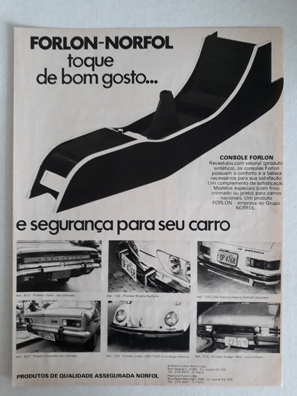 Propaganda Antiga Console Forlon Opala Brasília Fusca Anúnci