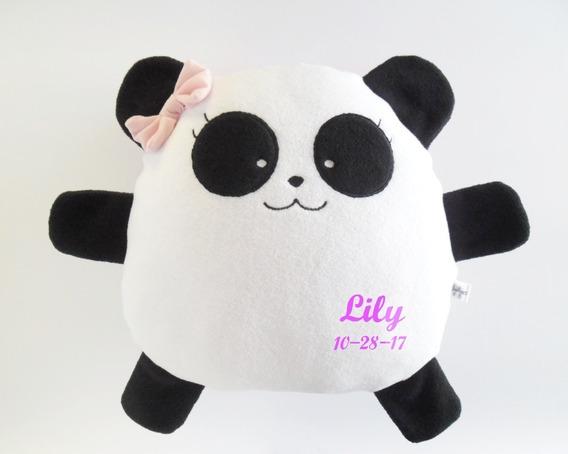 Cojín Panda Almohada Nombre Personalizado Cumpleaños Bebé