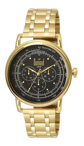 Relógio Dumont Unissex Dourado E Preto Du6p29acb/4d