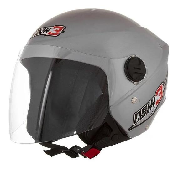 Capacete para moto aberto Pro Tork New Liberty Three prata tamanho 58