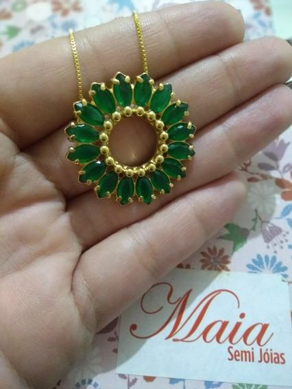 Colar Mandala Com Zirconia Verde Esmeralda