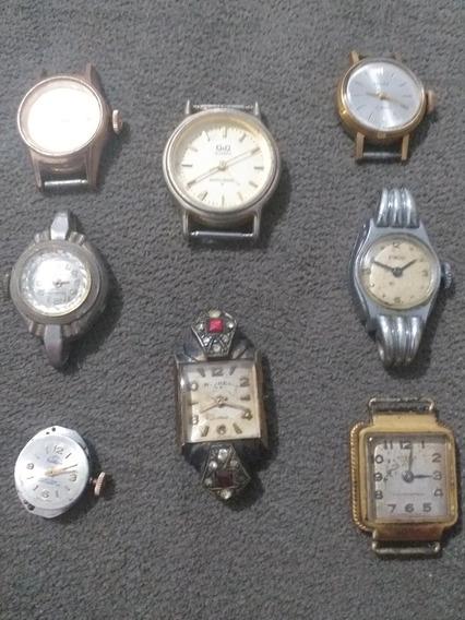 Lote 8 Relógios Corda Antigos Conserto Reaproveitamento Peça