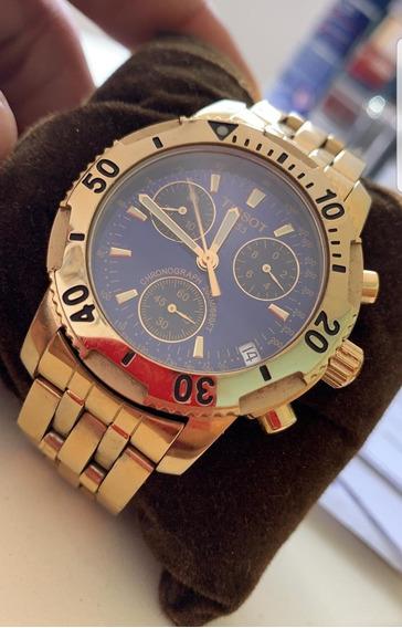 Relógio Tissot T-sport Prs 200 Dourado E Azul Usado