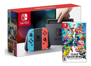 Nintendo Switch Rojo Azul Neon + Super Smash Bros Ultimate