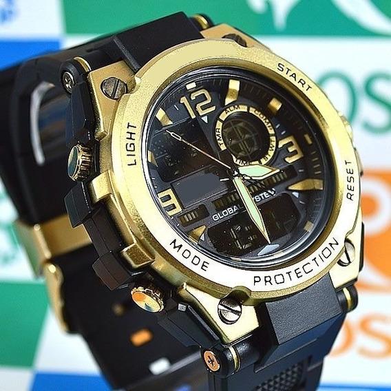 Relógio Shock Resist Metal Steell Dourado Illuminator Milit