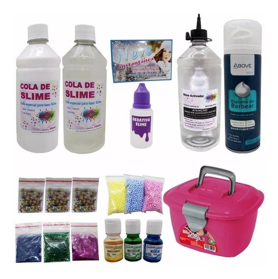 Kit Para Fazer Todo Tipo De Slime + Espuma De Barbear Grande