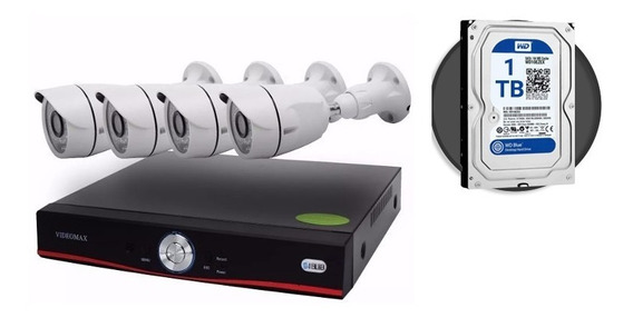 Kit Camaras Seguridad Full Hd 4 Canales Dvr + Disco 1tb