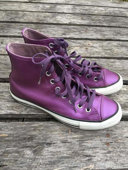 Zapatillas Converse All Star Hi Cuero Violeta Metalizadas