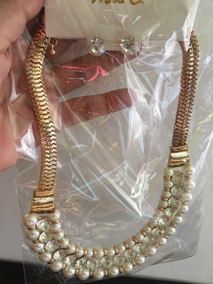 Juego De Collar Y Aretes Con Perlas Mod. Ajg-007