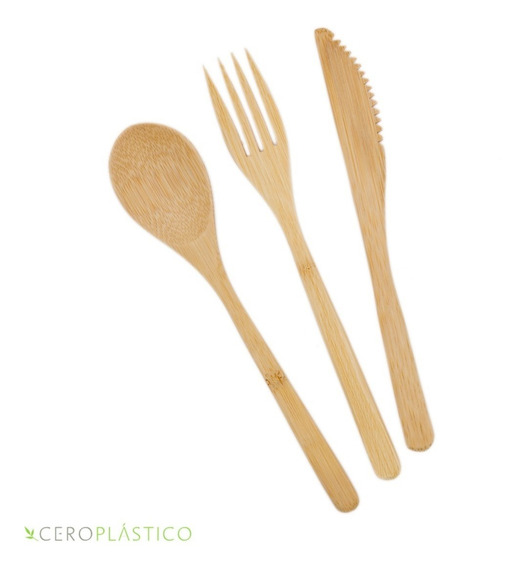 20 Sets De Cubiertos De Bambú