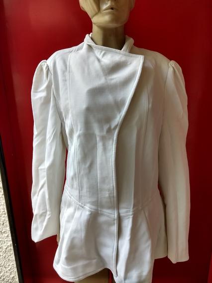 Blazer Casaco Feminino - Vintage Retrô Branco - Plus Size 48