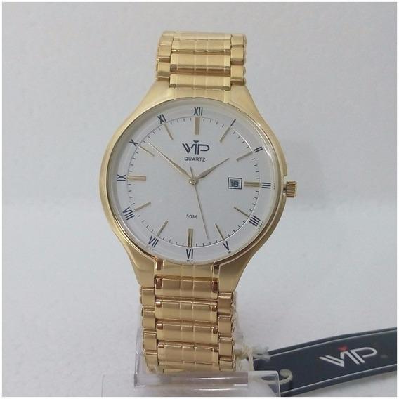 Relógio Vip Quartz Masculino Slim Dourado Ouro 18k Original