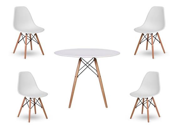 Kit 4 Cadeiras De Jantar Com Mesa Redonda Branca