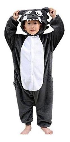 Lobo De Los Niños Pijamas Dormir Usar Kigurumi Una Pieza Ani