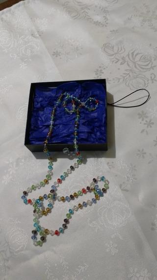 Colar De Cristal De Vidro Multicolor.