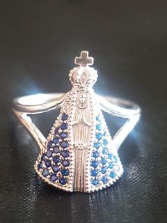 Anel De Nossa Senhora Aparecida Cravejada Em Prata 925