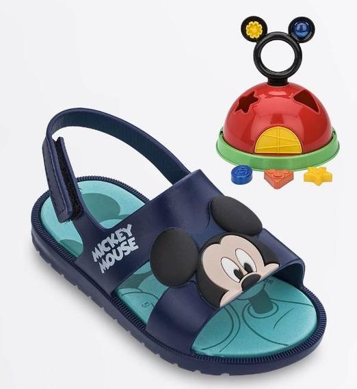 Sandália Infantil Mickey Azul Brinde Casa Mickey Grendene Kids Original C/nota Fiscal