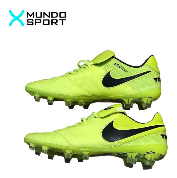 Botines Nike Tiempo Acc Profesional Amarillo Fluo Talle 10