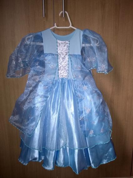 Vestido Festa Infantil Tema Frozen Elsa Luxo Tam P-3 Anos