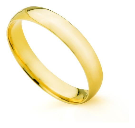 Aliança De Casamento Em Ouro 18k 3,5mm Semi Anatômica Femini