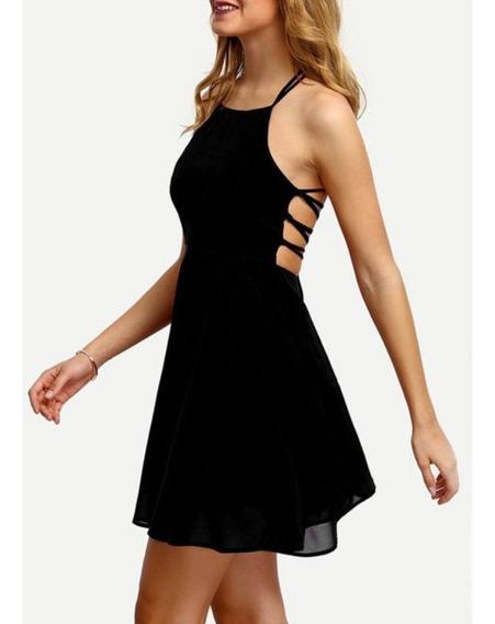 Vestido Corto Color Negro De Gasa Nuevo Importado De Usa